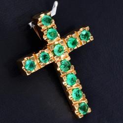 Kreuzanhänger mit 11 leuchtenden hellgrünen Smaragden in einer besonderen Art der Krappenfassung fixiert. Modern und zugleich zeitlos. (750er 18K Gold)