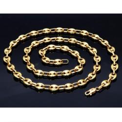 hochwertige Bohnenkette aus 585er (14 Karat) Gelbgold (ca. 66 cm; 21,8g, 7mm)