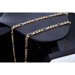 Designer Schmuckset - massive Figaro-Goldkette und Figaro-Armband in 750er Weiß- und Gelbgold (48g, 18k, bicolor)