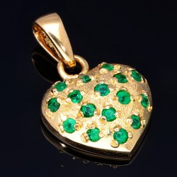 Goldanhänger in Herzform für Damen mit kleinen runden Smaragden aus 18k 750er Gelbgold