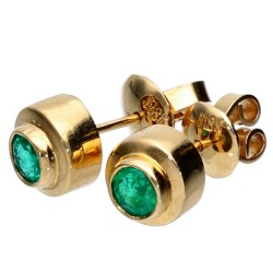 exklusive Ohrstecker in 750er (18k) Gold mit 2 dunkel grasgrünen Smaragden