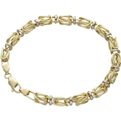 Goldenes bicolor Königsarmband (585er 14k), 5,5mm breit, 19cm lang