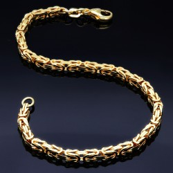 Massives Königsarmband aus Gold (585er 14k Gold), ca. 3,3 mm Breite, ca. 23cm lang, ca. 14,5g - Made in Germany
