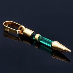 Federhalter-Anhänger in feinster Handarbeit hergestellt aus 18k 750er Gelbgold mit einem erstklassig verarbeiteten Smaragdkristall