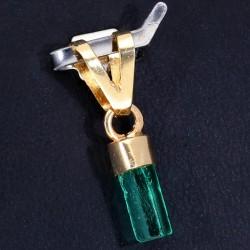 leuchtend grüner Smaragdkristall-Anhänger mit Goldfassung in 750 er Gelbgold / 18K