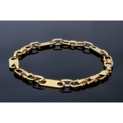 Plättchenarmband aus 585er (14k) Gelbgold, 22,5cm lang, 7mm breit (Steigbügelarmband)