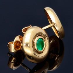 Elegante Ohrstecker mit 2 runden, kolumbianischen Smaragden in 18K / 750 Gold gefasst