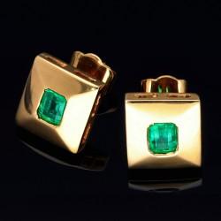 goldene, elegante Smaragd-Ohrstecker für die besonderen Momente in 18K/750 Gelbgold verarbeitet