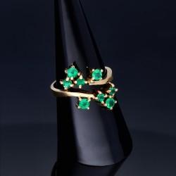 Nobler Damenring bestückt mit 8 leuchtend tannengrünen Smaragden in 18K / 750 Gelbgold