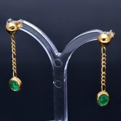 exklusive, hängende Ohrringe mit 2 tannengrünen, ovalen, kolumbianischen Smaragd-Cabochonen in 18K / 750 Gold gefasst
