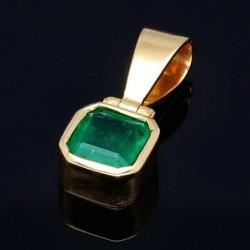 hochwertiger Smaragdanhänger aus 750 (18K) Gold mit dunkel grasgrünen Smaragd ( ca. 1,3 Karat)
