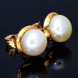 Perlen Ohrstecker mit 2 natürlichen Perlen in einer großzügigen Fassung in 14 K / 585 Gold