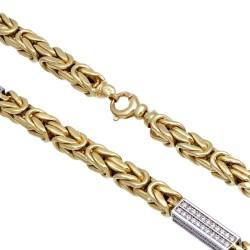MEGA Bling-Bling-Königskette mit Zirkoniabesatz aus 585er Gelbgold (14k)- ca. 66 cm lang, 7 mm breit, 90,1g