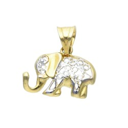 kleiner Elefant-Anhänger 585er 14K Gelb- und Weissgold (bicolor)