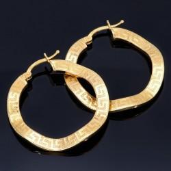 hochwertige Creolen in filgranem Greco - Design aus 585er (14K) Gelbgold