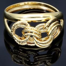 glänzender Gold -  Designerring aus 585er 14 Karat  für Damen -  Größe 56