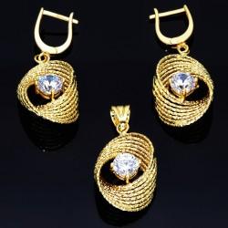Edles Schmuck Set -  Ohrringe und Anhänger mit Zirkonia 585 14K Echt Gold NEU