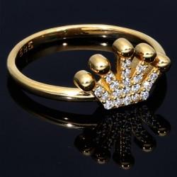 Sehr schöner Kronen Ring in 585 14 Karat Gelbgold mit Zirkoniabesatz. RG 56-57
