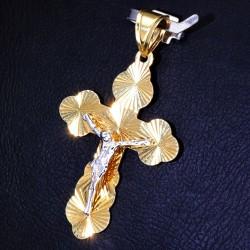 hübscher filigran verzierter Kreuzanhänger aus Gold aus 14k (585er) Gelbgold und Weißgold (bicolor)