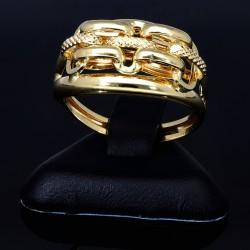 funkelnder Ring für Damen mit außergewöhnlichem Design in 585 14K Gelbgold in Ringgröße ca. 58