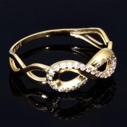 Infinity - Damen-Goldring mit Unendlichkeitszeichen in 585 14K Gelbgold mit Zirkonia - Steinen in RG 55