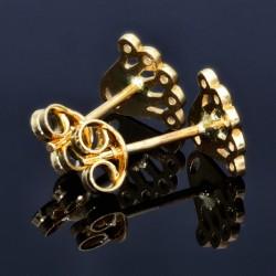 Ohrstecker Motiv Krone mit Zirkoniasteinen besetzt in 585er 14K Gold