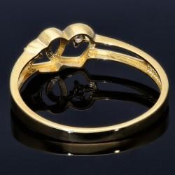 Damenring mit 2 verschlungenen Herzen in 585 14K Gold mit Zirkonia - Steinen in RG 52