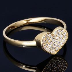 Damenring mit einem funkelnden Herz aus Gold (585 14K) mit Zirkoniasteinen besetzt in RG 56