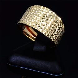funkelnder Damenring mit gestepptem Muster aus 585 14K Gelbgold Ringgröße ca. 57 / 58