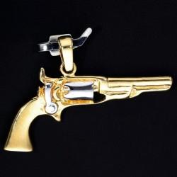 Goldener Colt - Revolver Anhänger in Bicolor 585er 14K Weiß- und Gelbgold