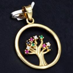 bezaubernder Lebensbaum - Anhänger in 585 14 Karat Gelbgold mit Zirkoniabesatz