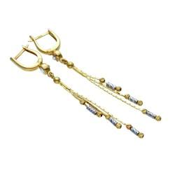 hängende, bicolor Designer - Ohrringe in 585er (14K) Weiß - und Gelbgold