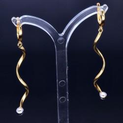hochwertige Spiral-Ohrringe  in 14K 585 Bicolor Weiß- und Gelbgold