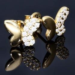 Butterfly - Ohrstecker - Schmetterlinge mit Zirkoniasteinen besetzt in 585er 14K Gold