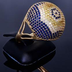 Statement Damenring mit vielen funkelnden Zirkoniasteinen besetzt aus Gold (585 14K) in RG 58