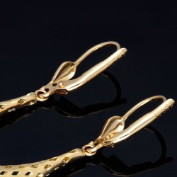 Hängende, bicolor Ohrringe mit eingefassten Zirkonia - Steinen in 585er (14K) Gold