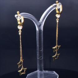 bezaubernde, hängende Sternchen - Ohrringe mit eingefasstem Zirkonia in 585er (14K) Gelbgold