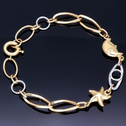 Verspieltes Bicolor Armband aus hochwertigem 585 14K Gold (ca. 20 cm Länge)