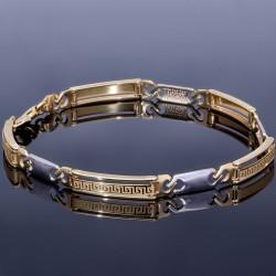 exquisites Armband im Greco Design - bicolor 585er Gelb- und Weißgold (ca. 21,5 cm Länge)