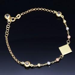 stilvolles Tricolor Armband aus hochwertigem 585 14K Gold in (ca. 19,3 cm Länge)
