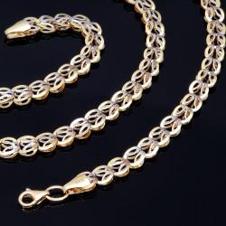 Halskette mit außergewöhnlichem Design für Damen aus 585er (14k) Bicolor Gelb- und Weißgold (Länge ca. 55 cm)