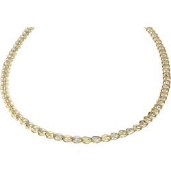 kurze Damen-Designerkette in 585 (14k) Gelbgold und Weißgold ca. 55 cm Länge