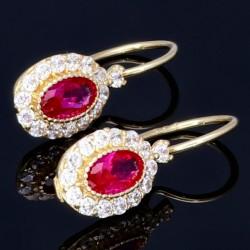 Feine, edle Gold - Ohrringe (585er 14K) besetzt mit einem großen, roten Zirkonia, umgeben von vielen kleinen Zirkoniasteinen in 585er 14K Gold