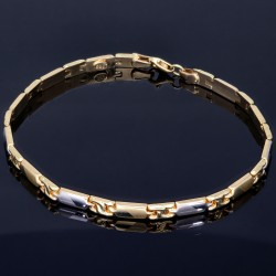 exquisites Armband aus wertvollem Bicolor 585er Gelb- und Weißgold (ca. 20 cm Länge) mit halb poliertem und halb mattiertem Design