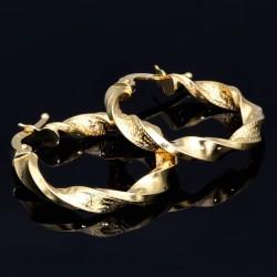 Polierte Twist - Creolen in filgranem Greco -Spiral - Design aus 585er 14K Gelbgold