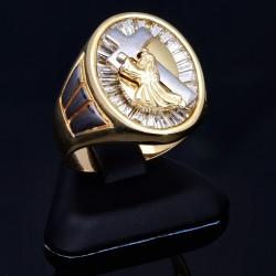edler Ring aus hochwertigem Gold ( 585 - 14K ) in RG 62 -  Motiv: Jesus trägt Kreuz