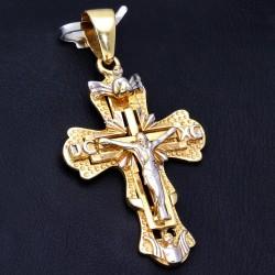 Jesus Christus Kreuz - Anhänger mit filigranen Verzierungen aus Gold aus 14k (585er) Gelbgold und Weißgold