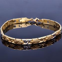 Rustikales, hochwertiges Armband aus 14K 585er Bicolor Gelb- und Weißgold (ca. 21,2 cm Länge)