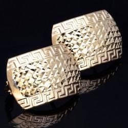 Wunderschöne Creolen / Ohrringe aus 585 14K Gelbgold mit gesteppten Muster und Greco - Design