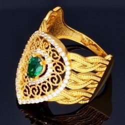 Wunderschöner breiter Ring aus 14K 585 Gelbgold mit filigranem Muster, besetzt mit einem funkelnden, dunkelgrünen Zirkoniastein in RG 56